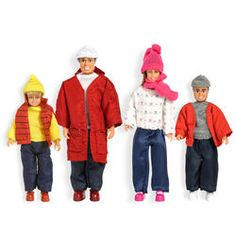 Lundby Smaland Plastic and Fabric 4-Piece Doll Family Winter Accessories Set with Removable Clothes