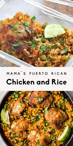 Mama's Puerto Rican Chicken and Rice (Arroz con Pollo) Mama's Puerto Rican Chicken and Rice also known as Arroz con Pollo. This one pan dinner is made with homemade adobo seasoned chicken, sofrito and savory rice. You'll make this recipe again and again! Crock Pot Recipes, Healthy Chicken Recipes, Mexican Food Recipes, Chicken Thigh Recipes Oven, Tumeric Chicken Recipes, Chicken Recipes For Dinner, Chicken Pieces Recipes, Chicken Dinner For Two, Easy Spanish Recipes