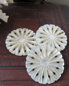 """Antique Carved Mother of Pearl Button 1 1/2"""" Set of Three Buttons Vintage"""