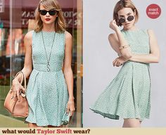 Taylor Swift's mint green floral dress with side cutouts. Outfit Details: http://wwtaylorw.com/3127