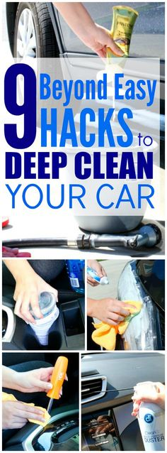 These 9 Clever hacks for cleaning and deep cleaning the car are THE BEST! I'm so glad I found these AWESOME tips! Now I have great car hacks and tips when wanting to make it look like new again! Definitely pinning!