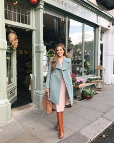 Julia Engel shares her daily look on Gal Meets Glam. Julia is wearing a Chloe coat, Co dress, Aquazzura boots, and a Fendi bag. Womens Fashion Online, Latest Fashion For Women, Coat Dress, The Dress, Pink Dress, Dress Pants, Dress Skirt, Modest Dresses, Casual Dresses