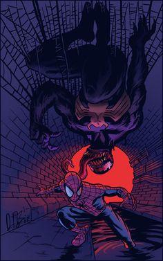 Spider-Man vs Venom by Daniel Irizarri Oquendo * Marvel Venom, Marvel Vs, Marvel Dc Comics, Marvel Heroes, Comic Book Characters, Comic Character, Comic Books Art, Comic Art, All Spiderman