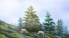 Wild goat grazing on the mountain :) Imaginary art work.