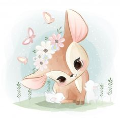 Baby shower Vectors, Photos and PSD files Baby Animals, Cute Animals, Wild Animals, Lapin Art, Illustration Inspiration, Baby Animal Drawings, Baby Deer, Baby Art, Cute Images