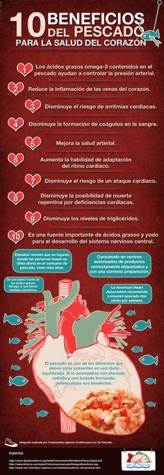 10 beneficios del pescado para la salud del corazón #infografia #infographic #health | Infografías en castellano