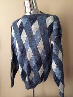 Vintage Apparel Men's 80's Sweater Blue White by Freshandswanky