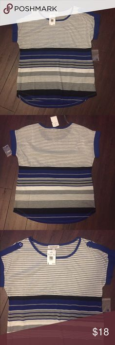 Vanity Striped Top New with Tag! Color Royal Blue. Discounts on Bundles available! Vanity Tops Tees - Short Sleeve