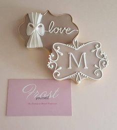 Decorated Iced Cookies Wedding Bridal Baby Shower Custom Monogram from Frost Yourself Cookies 1 Doze
