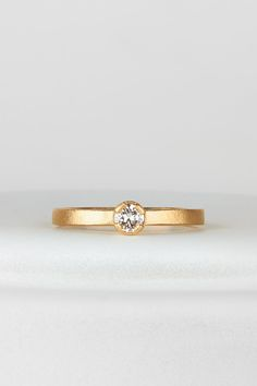 White old european cut diamond in yellow gold engagement ring by Corey Egan in San Francisco