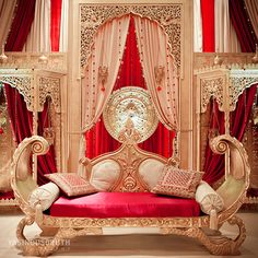 im so picky with indoor stages, but finally something that i kind of like red gold wedding stage Arab Wedding, Wedding Mandap, Big Fat Indian Wedding, Desi Wedding, Indian Weddings, Pakistani Wedding Stage, Punjabi Wedding, Gold Wedding, Wedding Table