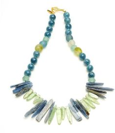 Wendy Mink Lapis and Prehnite Dagger Necklace