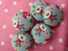 Cath Kidston fabric covered buttons tiny blue by TheHomemadeHaven, £2.50
