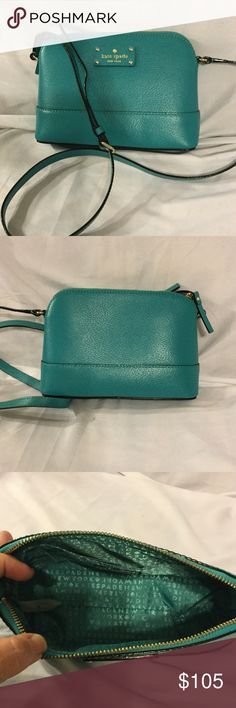 "Kate Spade Hanna Wellesley Crossbody Turquoise Kate Spade Hanna Wellesley Crossbody Leather Bag in Fremont Turquoise. One pocket inside. Zip-top closure. Adjustable strap.  9"" L x 6 1/2"" H x 3"" D, with strap drop adjustable to 20"" kate spade Bags Crossbody Bags"