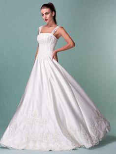 Princess Floor-length Satin Wedding Dress With Beaded Appliques | LightInTheBox