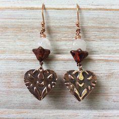 Dangle earrings copper embossed heart design by rubybluejewels