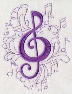 Doodle Treble Clef design (M2696) from www.Emblibrary.com