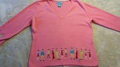 Alexandra Bartlett Pink Cotton V Neck Sweater People Embroidery Border medium  #AlexandraBartlett #VNeck