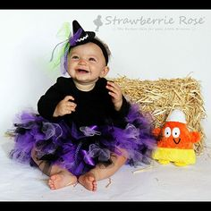 Baby Girls Witch Tutu Costume Outfit Halloween by StrawberrieRose Diy Baby Costumes For Girls, Baby Girl Halloween Costumes, First Halloween, Tutus For Girls, Cute Halloween, Halloween Outfits, Girl Costumes, Infant Halloween, Halloween Birthday