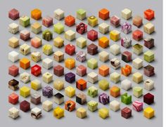 """""""Cubes"""" by Lernert and Sander. 98 raw foods in total."""