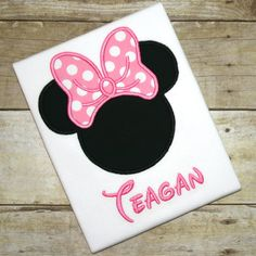SALE - Minnie Mouse Inspired Ears and Bow Embroidered Shirt or Bodysuit - Disney World Vacation - FREE PERSONALIZATION on Etsy, $22.00