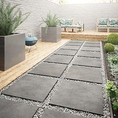 Wickes Al Fresco Graphite Indoor & Outdoor Porcelain Floor Tile 610 x Garden Tiles, Patio Tiles, Garden Floor, Outdoor Tiles Patio, Outside Flooring, Outdoor Flooring, Outside Tiles, Backyard Patio, Backyard Landscaping
