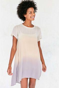 Silence + Noise Sonoma Dip-Dye Chiffon T-Shirt Dress - Urban Outfitters