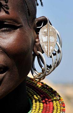 Africa   Details; East Turkana woman's earrings. Kenya   ©Christophe Cerisier