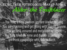 Celtic Tree Astrology - Alder: the Trailblazer - March 18 to April 14 Celtic Zodiac Signs, Celtic Astrology, Aries Astrology, Pisces, Taurus, Horoscope, Astrology Meaning, Alder Tree, Celtic Tree