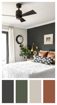 Gorgeous and natural earth toned decor. Bedroom Colour Palette, Bedroom Wall Colors, Bedroom Color Schemes, Best Color For Bedroom, House Color Schemes Interior, Earthy Color Palette, Master Bedroom Design, Home Bedroom, Bedroom Ideas