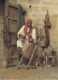 Jean Discart, The Sharpener, date unknown, Oil on panel, 64,1 x 48,2 cm, Private Collection
