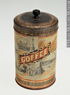 Coffee Tin Canada, 1905 The McCord Museum. What a gorgeous old tin. Coffee Tin, I Love Coffee, Coffee Cafe, Coffee Shops, Vintage Tins, Vintage Coffee, Vintage Labels, Café Chocolate, Tin Containers
