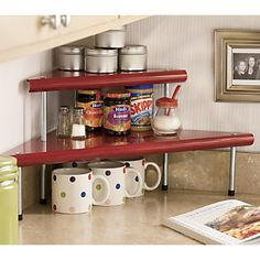Kitchen corner shelf-- I have this one little niche that ends up so cluttered, this is perfect!