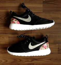 68c595f9d9ab Items similar to Nike Roshe Run One Black with Glitter Swarovski Crystals  and Custom Pink Floral Print on Etsy