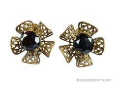 Vintage 1950s Black Glass Floral Earrings by LemonKitscharms