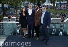 (left to right) Jenna Coleman, Peter Capaldi, Samuel Anderson, and Steven Moffat at a premiere screening of Doctor Who season eight episode one at Odeon Leicester Square, London.