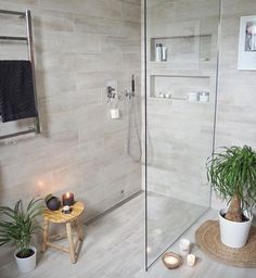 Most Popular Small Bathroom Remodel Ideas on a Budget in 2018 This beautiful look was created with cool colors, and a change of layout. Wood Bathroom, Laundry In Bathroom, Basement Bathroom, Master Bathroom, Bathroom Small, Small Tub, Beige Bathroom, Tranquil Bathroom, Master Shower