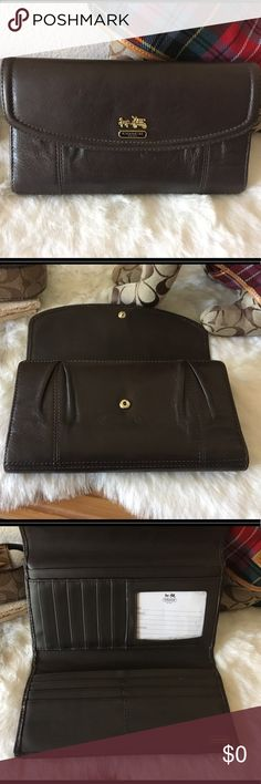 Coach Large Brown Wallet w/Gathered Front Tbd Coach Bags Wallets