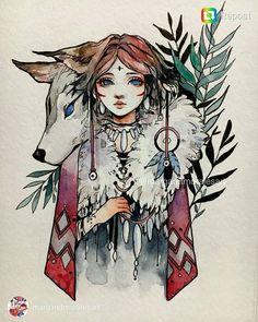 Jolie découverte #inktober2017 Margaret Morales @margaretmoralesart . Wolf.  #inktober #art #painting #drawing #wolf