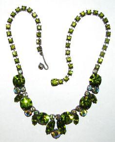 Vintage Signed Regency Olive Green Rhinestone Necklace