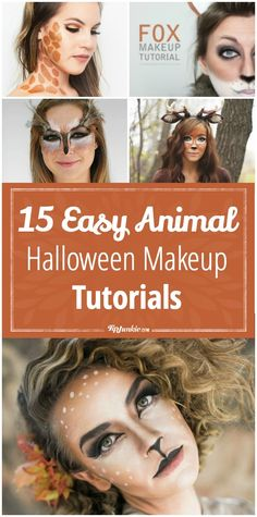 15 Easy Animal Halloween Makeup Tutorials - Tip Junkie Halloween Makeup Tutorials, Easy Halloween Makeup, Costume Makeup Tutorial, Diy Halloween Animal Costumes, Diy Fox Costume, Diy Halloween Face Paint, Deer Costume Makeup, Party Animal Costume, Facepaint Halloween