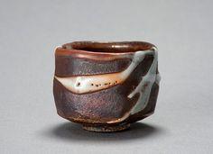 """Ken Matsuzaki, Tea bowl, yohen shino glaze, stoneware, 3.75 x 4 x 4"""""""