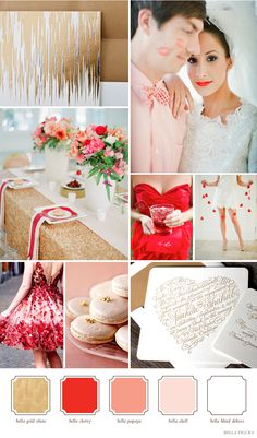 Metallic Gold, Bright Red, Soft Pink and Sweet White wedding color inspiration