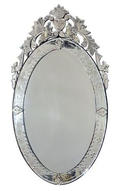 Mid Century Oval Venetian Mirror with Scrolling and Heart Detail