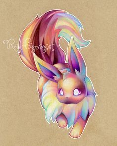 Colorful Eevee art PRINT 8x10 inches signed by ArtbyReid on Etsy