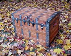 How to refinish canvas covered trunk; this site also sells parts (latches, leather straps, hinges) Old Trunks, Vintage Trunks, Trunks And Chests, Antique Trunks, Trunk Makeover, Interior Paint Colors For Living Room, Wooden Shipping Crates, Painted Trunk, Vintage Stool
