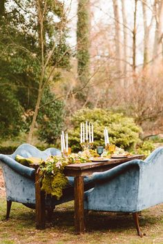 An outdoor reception table filled with life! #wedding Whimsical Boho Wedding Inspiration, Brooke Michelle Photography, Honeydew Vintage, Lark Floral, A Griffin Events
