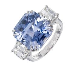 Peter Suchy Periwinkle Blue Sapphire Diamond Three-Stone Engagement Ring | From a unique collection of vintage engagement rings at https://www.1stdibs.com/jewelry/rings/engagement-rings/