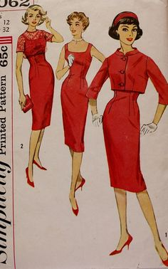 Fabulous Vintage Sewing Pattern 1950s Sheath WIGGLE Dress Lace Crop Jacket Simplicity 3062 Size 12 Bust 32
