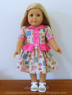 Val Spiers Sews Doll Designs: Cute Add-on Bibs for the Round Neck Dress